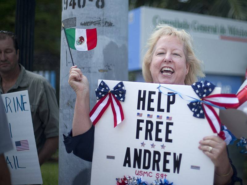 Jill Tahmooressi stands outside the Mexican Consulate in Miami, May 5, 2014, ...