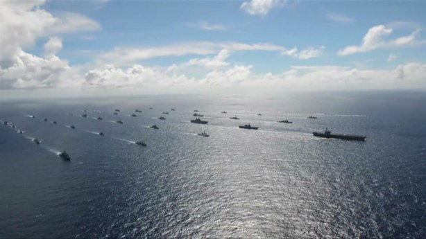 Aerial view of the multinational navy ships participating in the 2014 Rim of the Pacific naval exercise near the Hawaiian Islands.