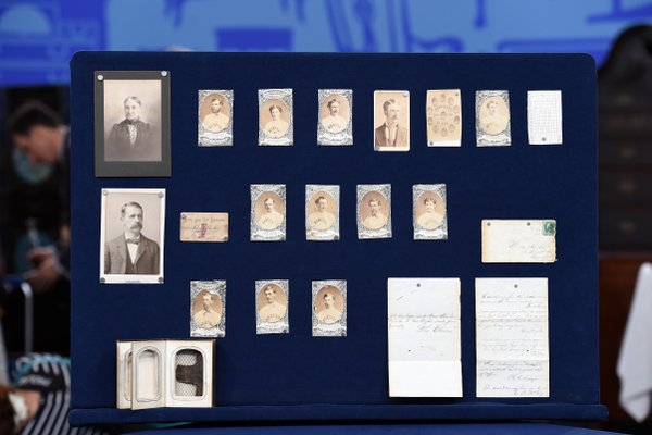 """A collection of early Boston baseball memorabilia for the program """"Antiques Roadshow"""" in New York, Aug. 9, 2014."""