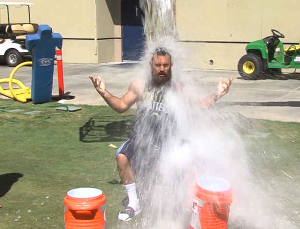 San Diego Chargers safety Eric Weddle has ice water dumped on this head as pa...
