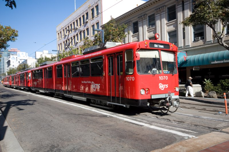 A San Diego trolley passes through the Gaslamp Quarter, June 21, 2007.