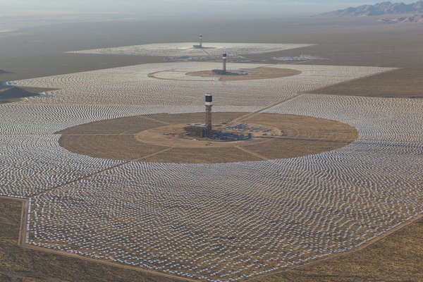 An aerial photo of the Ivanpah solar power plant in the M...