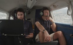 Daniel Oakley and Mark Evans testing shark spotting technology.