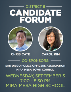 A flyer for the District 6 candidate forum hosted by San Diego Police Officers Association and Mira Mesa Town Council, Sept. 3, 2014.