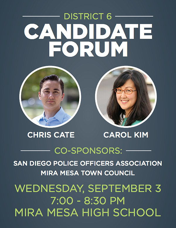A flyer for the District 6 candidate forum hosted by San Diego Police Officer...