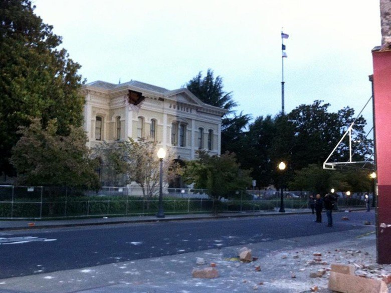 Damage is visible on the Napa Courthouse the morning after a 6.0-magnitude ea...
