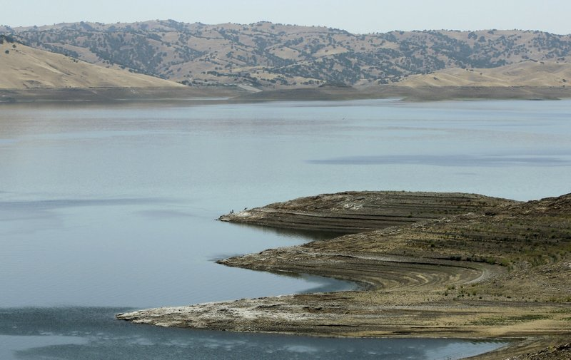 Low water levels are seen at the San Luis Reservoir near Gustine, California,...