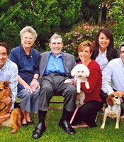 The Beyster Family, 2014 KPBS Hall of Fame inductees. From left to right: Jim Beyster, Betty Beyster, Dr. Robert Beyster, Mary Ann Beyster, Lan Beyster, and Mark Beyster.