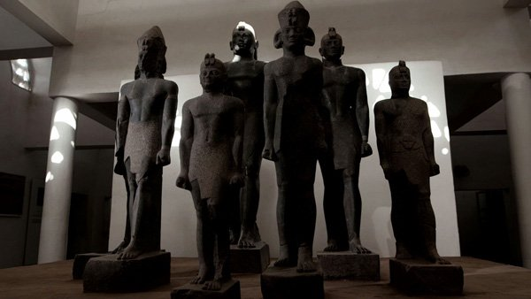 Nubian Pharaohs pictured are reassembled statues of Phara...
