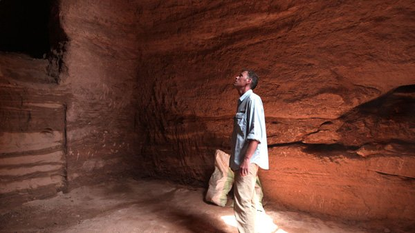 Archeologist Geoff Emberling takes a moment inside a prev...