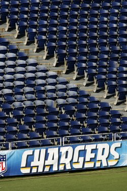 Empty seats at Qualcomm Stadium prior to the NFL preseason football game between the San Diego Chargers and the San Francisco 49ers, Sept. 4, 2009.