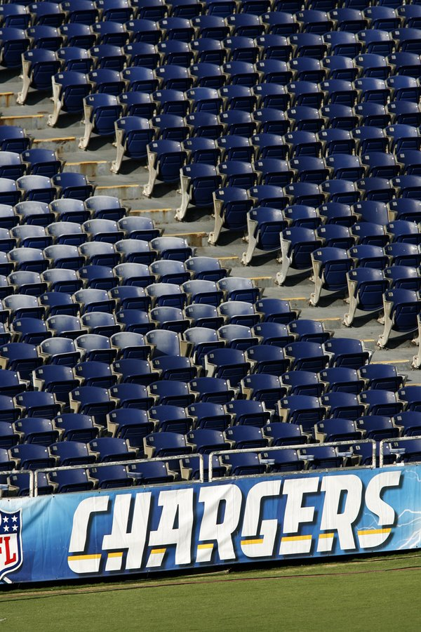 Empty seats at Qualcomm Stadium prior to the NFL preseason football game betw...