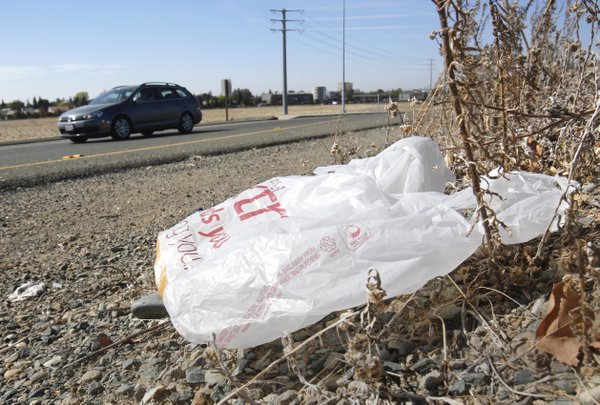 A plastic shopping bag litters the roadside in Sacramento...