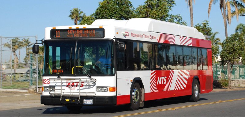 A San Diego MTS bus that runs on compressed natural gas in seen in this undat...