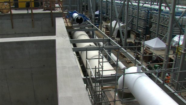 Pipes under construction that will eventually move water between treatment fa...