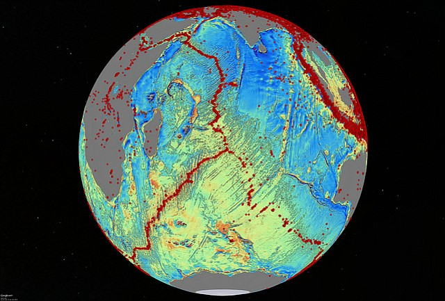 The seafloor spreads along tectonic ridges and faults, marked by the red dots...