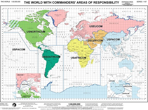 This map shows U.S. military commanders' areas of responsibility throughout t...