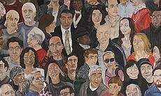 """Crowd Painting, Patrons"" by Emily Grenader is on a billboard the corner of 1..."