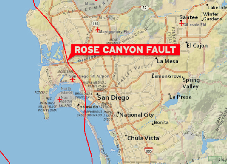 This map shows the Rose Canyon Fault that cuts through the heart of the city ...