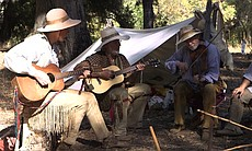 "Musical group ""Heritage"" plays authentic 1800s dance music around a campfire at the Laguna Mountain Rendezvous 20 miles north of Julian on October 24, 2014."