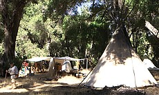 Campers sleep in authentic period shelters like this teepee with 26-foot-tall poles at the Laguna Mountain Rendezvous 20 miles north of Julian on October 24, 2014.