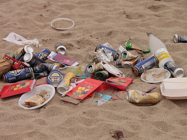 Trash on the beach, May 1, 2011.
