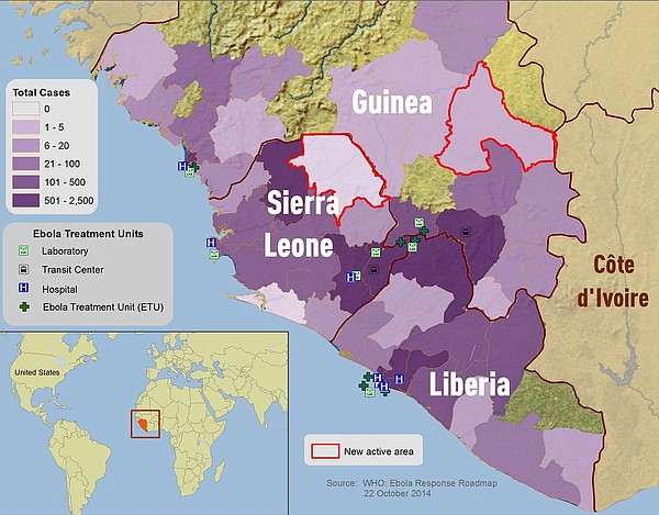 Map of West African countries, Guinea, Sierra Leone and Liberia. Map includes...