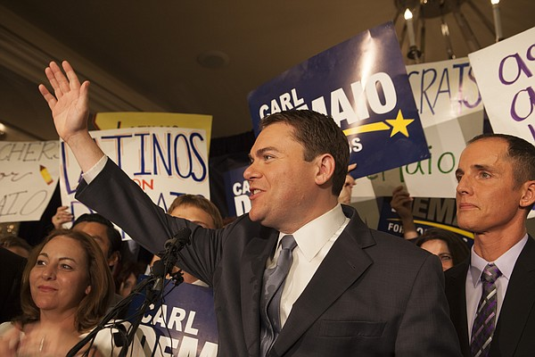 Carl DeMaio waves to the audience on election night at th...