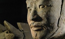 Close up of a 2200 year old figure.