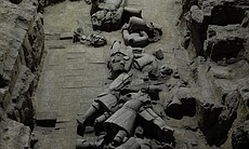 A mass of broken figures (as they were discover...