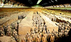 Wide of Pit One with warriors facing east.