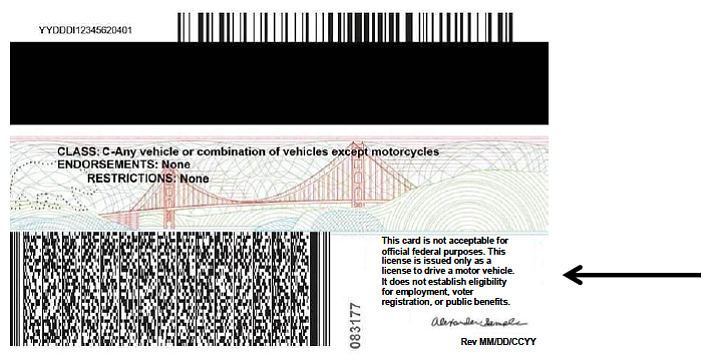 california drivers license federal restrictions
