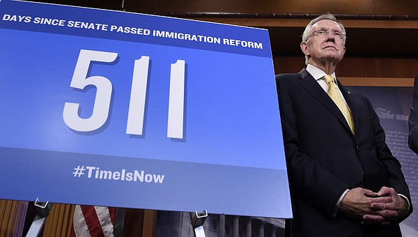 At a news conference on Capitol Hill, Senate Majority Lea...