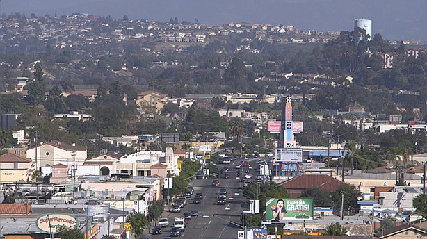 A view of University Avenue looking east from Fairmount Avenue in City Heights.