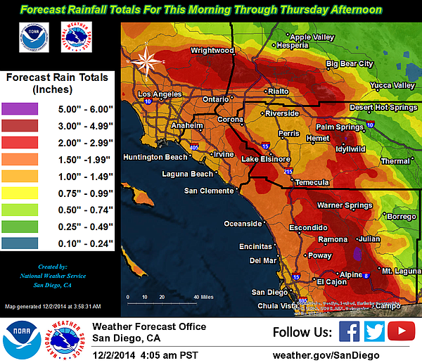 This map shows expected rainfall amounts from Tues., Dec....