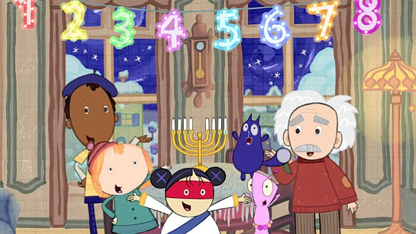 """A scene from the Cat + Peg episode, """"The Hanukkah Problem..."""