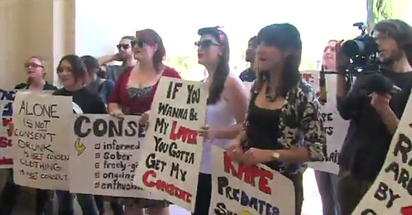 San Diego State University students march to demand actio...