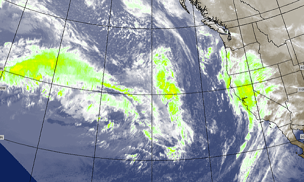 This water vapor image shows low pressure systems in the Pacific, that are ex...