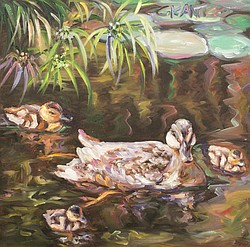 In her painting Waddle, Waddle, Quack, Quack, Concetta Antico renders ducks with unusual colors such as orange, purple and green.