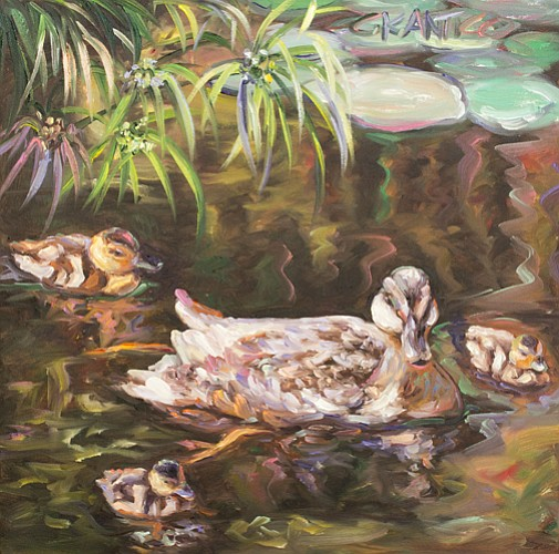 In her painting Waddle, Waddle, Quack, Quack, Concetta Antico renders ducks w...