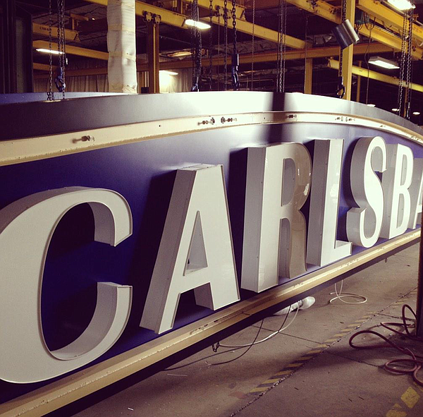 The new Carlsbad welcome sign is shown while under constr...