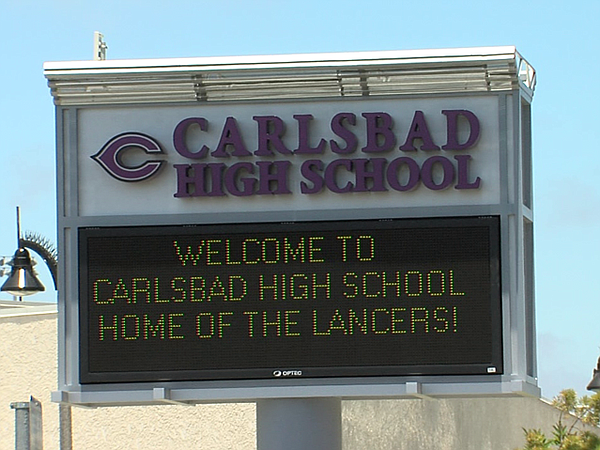 A Carlsbad High School marquee sign is shown in this unda...