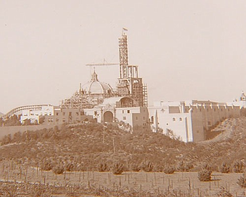 Historical photo of Balboa Park's California Tower before...