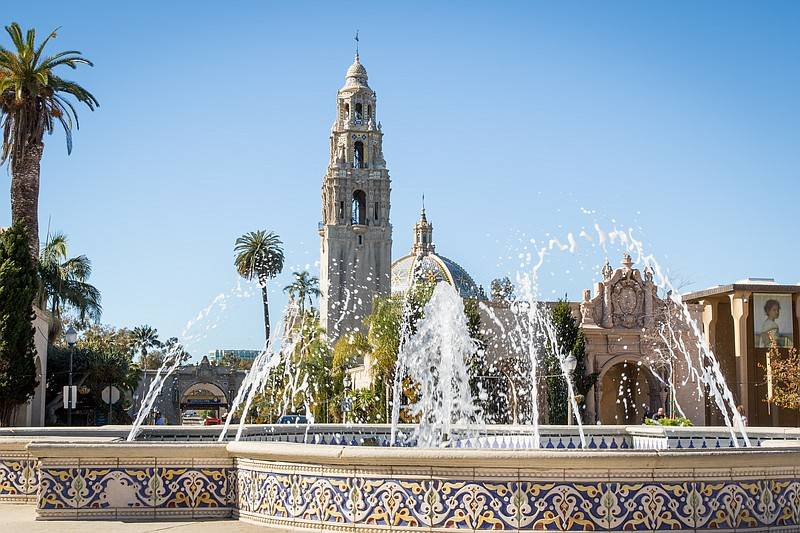 Pictured is the fountain in the center of the Plaza de Panama at Balboa Park,...