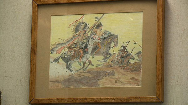 A drawing of Indian warriors done by City Councilman Scot...