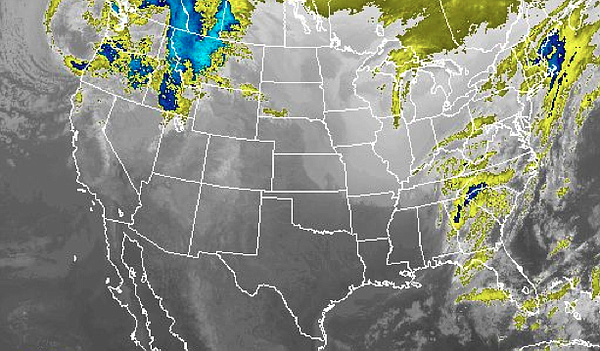 This satellite image shows a storm system brewing in the northwest, with clea...