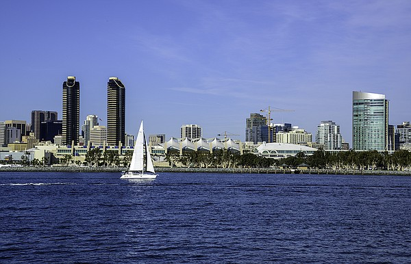 A view of the San Diego Convention Center and the downtown skyline from Coron...