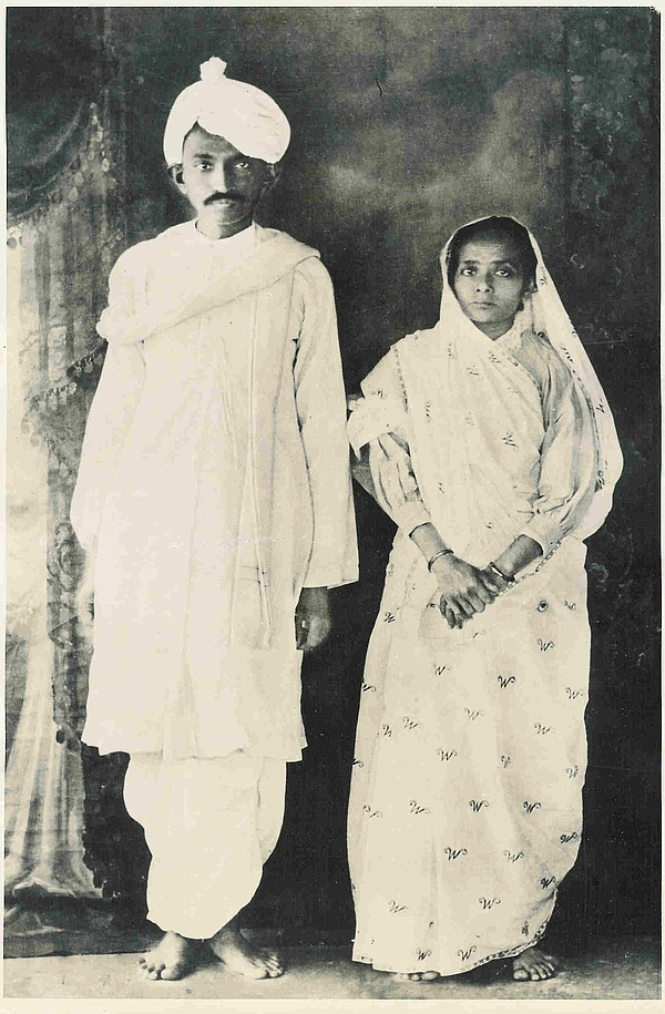 An undated photo of Kasturba Kapadia and her husband Moha...