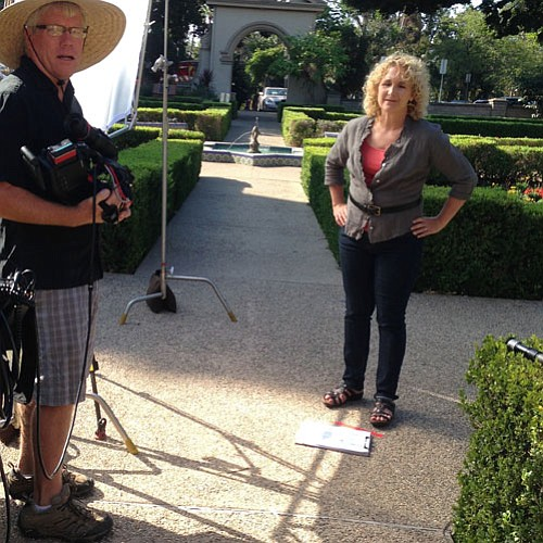 Cameraman Michael Gerdes and host Nan Sterman prepare to ...