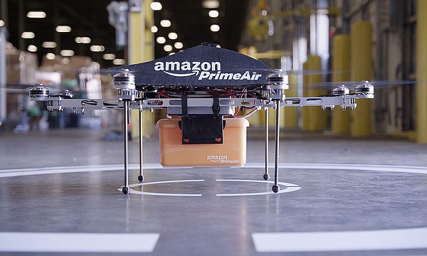 An Amazon Prime Air drone, which will be used in testing ...